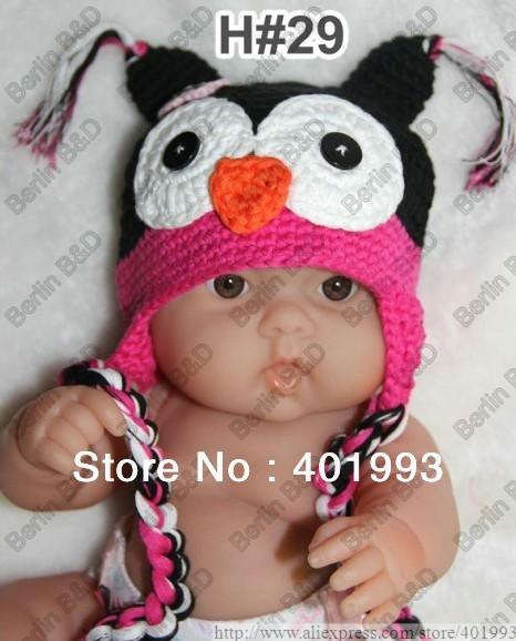 10pcs OWL crochet baby hat children cotton hat Stripes Beanie with ear ANIMAL HAT crochet cap monkey hat(China (Mainland))