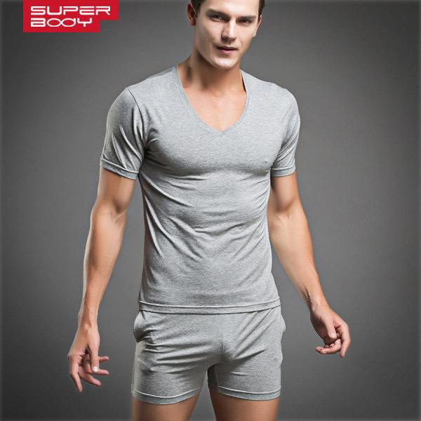 Free Shipping High Quality Sexy Mens Underwear Sleepwear Breathable Pajamas Fashion Male Undershirt Set 4 Colors 2017 New Style!