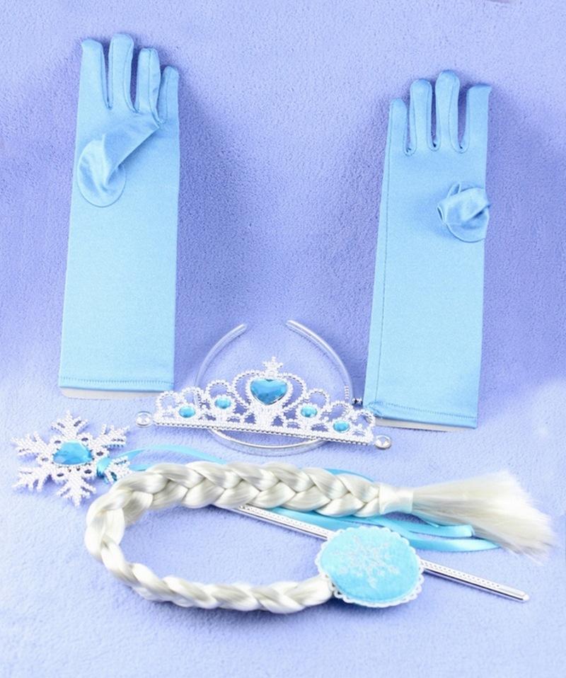 4pc/set Elsa Girl Crown Hair Accessories Princess Crown for Kids Brithday Gift Magic Wand+Rhinestone Hair Crown+Glove+Hair Braid(China (Mainland))