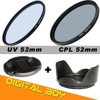 (4pcs/set) 52mm UV filter+52mm cpl lens filter+lens hood+lens cap filter kit  for D3100 D3200 camera lens protector