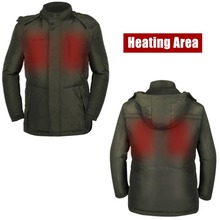 SVPRO Men Heated Coat Olive Green Warm outside Skii Sport Heated Down Jacket warm in Winter Cold days(China (Mainland))