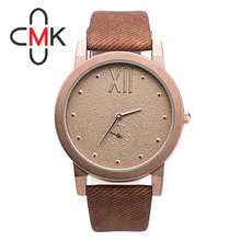 CMK Famous Brand Women Watch Factory Direct Price Canvas Design Leather Strap Watch Abrasive Dial Men Women Watch Fashion Watch(China (Mainland))