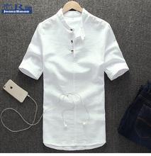 Jonnyrman2016 summer wear cotton and linen shirt male summer leisure linen shirts with short sleeves