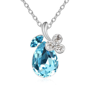High Quality 100% Austria crystal jewelry sea blue water drop platinum plated necklace free shipping(China (Mainland))