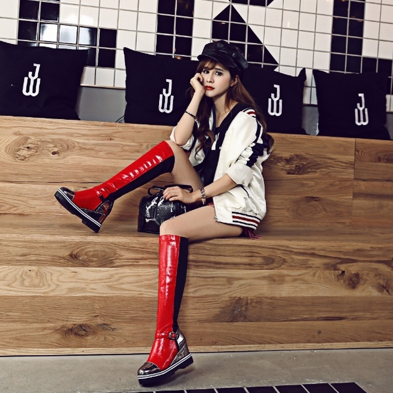 Fashion New Knight Knee High Boots Stylish Mixed Colors Buckle Charm Wedges Shoes Platform Fall Winter Boots Plus Size 34-43