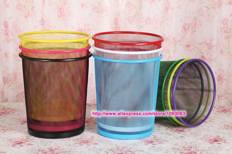 Pack of 3 pcs Round Trash Can Dust Bin Wastebasket Recycling Barrels Iron Net Barbed Wire Household Kitchen(China (Mainland))