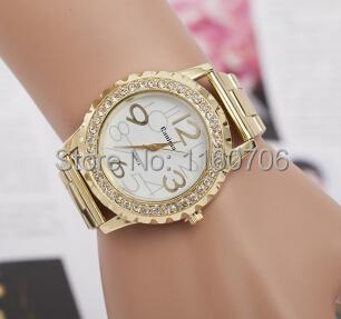 Fashion Geneva Lovers Women Dress Watches gold Full Steel Analog Quartz Digital Ladies Rhinestone Wristwatches relogio