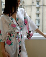 New White Sexy Chinese Women Silk Rayon Robe Wedding Bridesmaid Sleepwear V-Neck Kimono Bath Gown Mujer Pajama Plus Size XXXL(China (Mainland))