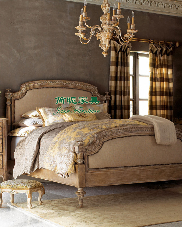 French retro double bed to do the old antique carved wood bed wood bed bed bed leather jane Tuscan style bedroom furniture
