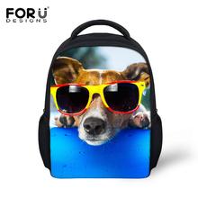Cute Animal School Bags for Boys Girls Funny 3D Pet Dog with Glasses Print Backpack Children Mini Schoolbag Kid Mochila Infantil(China (Mainland))