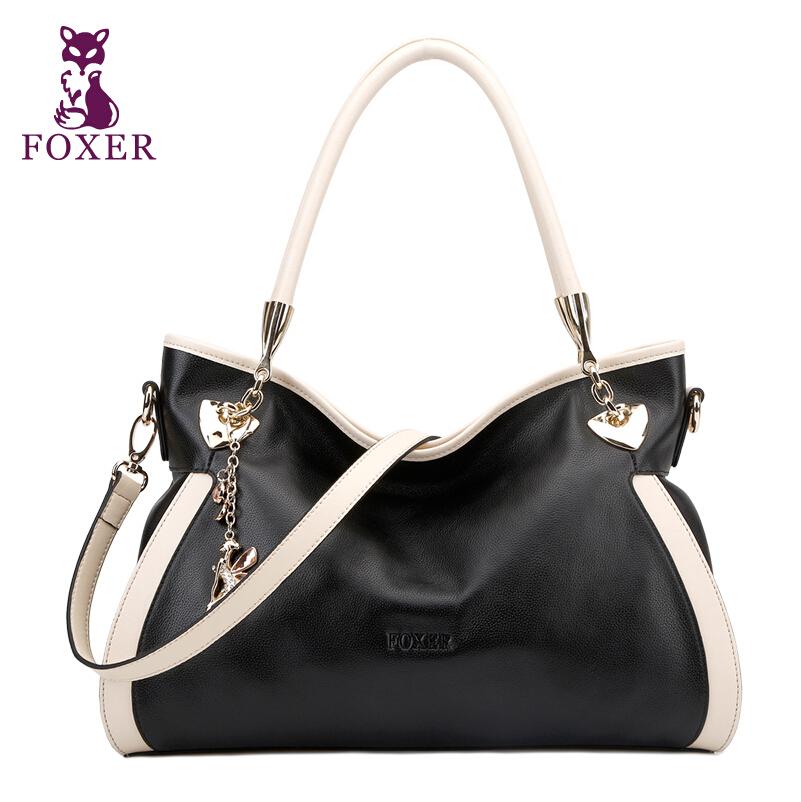 FOXER women genuine leather bag famous brands luxury fashion top quality women handbags Shoulder Bag beige cowhide Tote bag<br><br>Aliexpress
