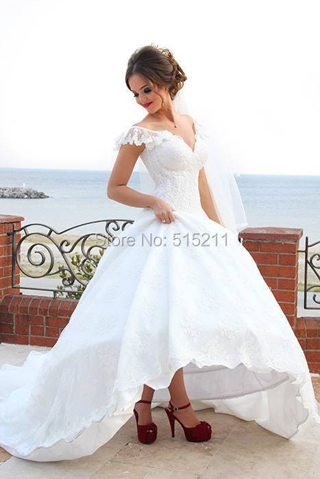 Cap sleeve lace sexy neck lace wedding dress beach high for Sexy high low wedding dresses
