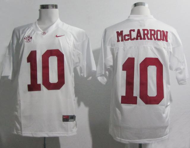 Nike Alabama Crimson Tide AJ McCarron 10 2012 SEC Patch White College Basketball Jersey t shirts,100% stitched(China (Mainland))