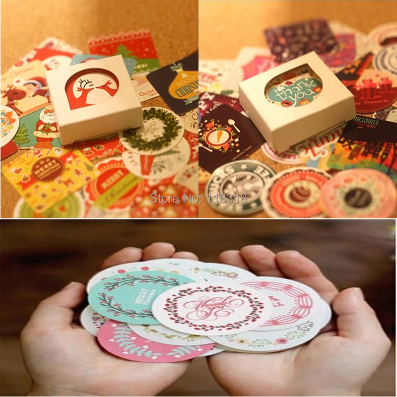 Min Order is $5,(1 Lot=2 Sets=76 Pcs) DIY Scrapbooking Paper Christmas Diary Stickers Birthday Album Decoration Sealing Stickers(China (Mainland))