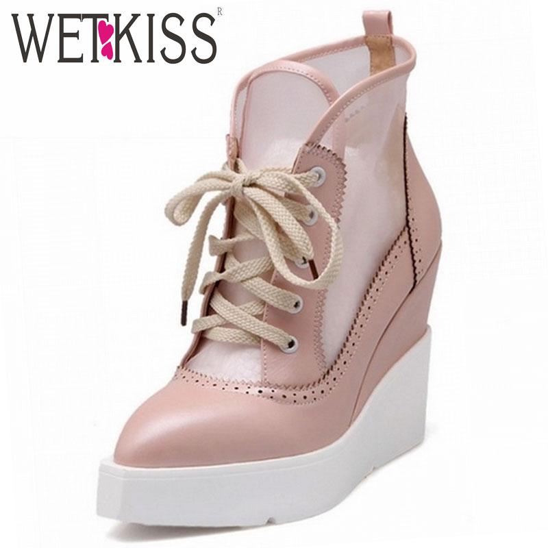 2015 High Wedege Sandals Lace Up Sandals Vintage Cut-out Mesh Platform Sandals Elegant Thick Sole Pointed Toe Shoes