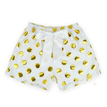 Baby Shorts Gold Dots Baby Girl Bloomers 2016 Summer Baby Panties Infant Diaper Cover with Big Bow Kid PP Pants Pompom Clothes(China (Mainland))