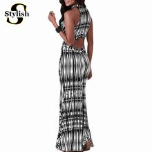 Summer Maxi Dress Big Size Summer 2016 European Style Stripe Print Sexy Club Sleeveless Tank Dresses Long Women Backless Clothes(China (Mainland))