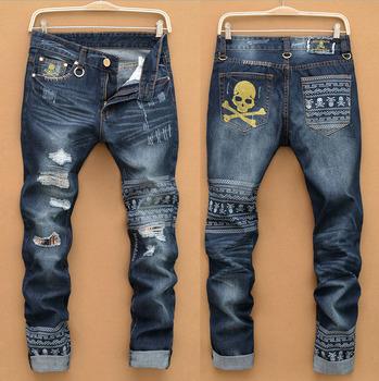 Западная дизайнер 2015 мужская мода джинсы хлопок Высокое качество тонкий череп бренд ...