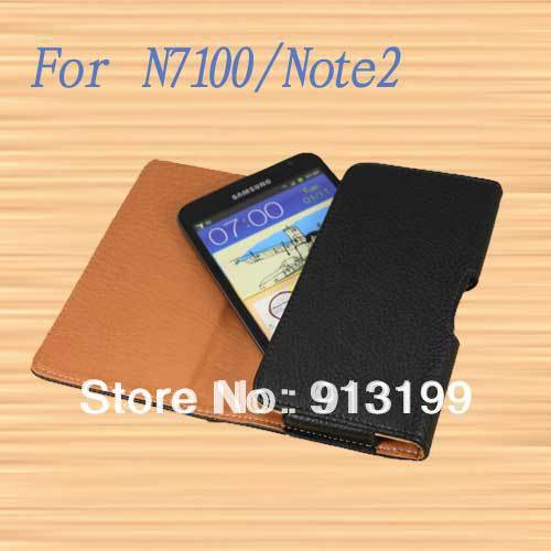 Free shipping flip Belt Clip Holster Holder leather hard case cover wallet for Samsung Galaxy Note 2 N7100 Mobile Phone