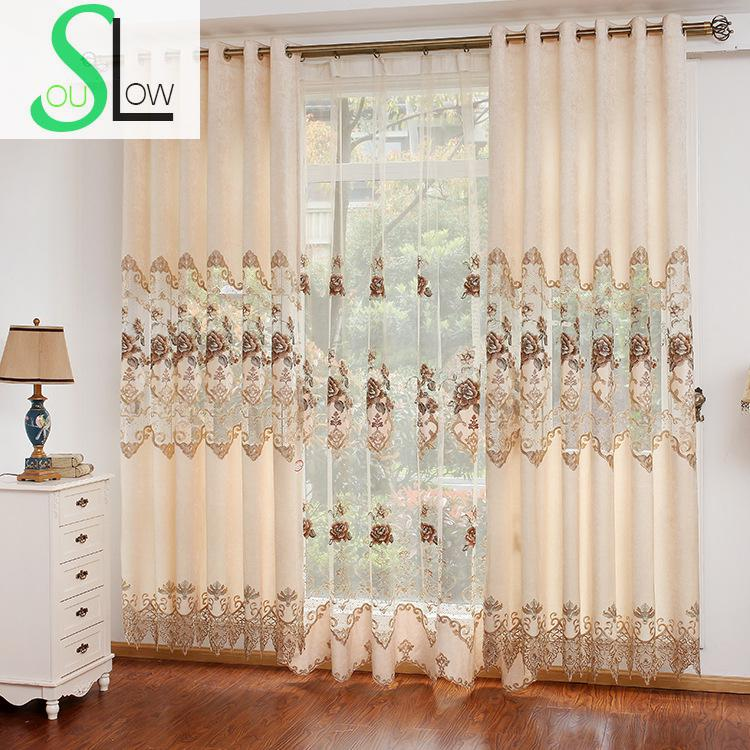 European Garden Chenille Embroidery Curtain Fabric With Hollow Yarn For Room Curtains Embroidered Cortinas Living Luxury Modern(China (Mainland))
