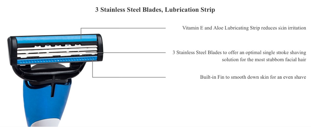 QShave Men Manual Shaving Razor Trimmer Blade System(1pc X3 Blade, 1pc X5 Blade & 1pc Razor Handle)
