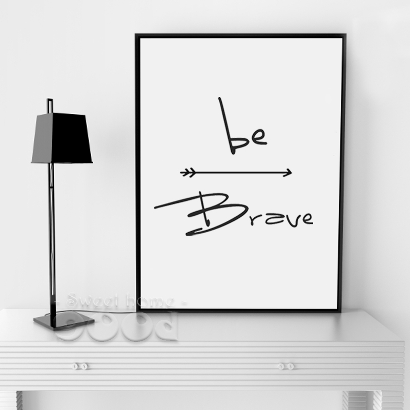 Buy Cartoon Be Brave Canvas Art Print Poster Wall Pictures For Home Decoration