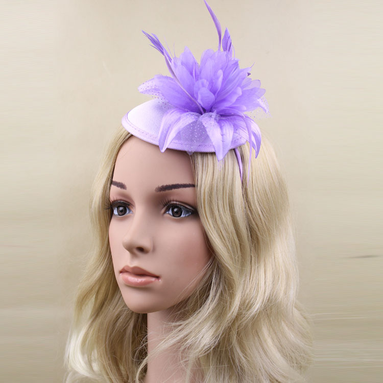Fashionable Satin Hair Fascinator Hat WIth Feather Cocktail Hat Headband for Wedding Party Decoration,Free shipping(China (Mainland))