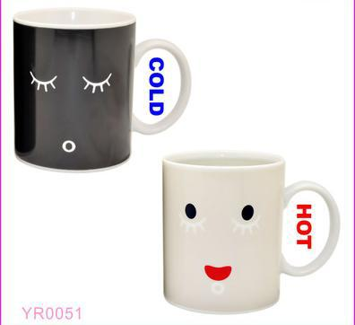 Free Ship Wake Up Cup Color Changing Mug Cup Magic High Quality Ceramic Coffee Cup Temperature Changing Custom Valentine Gift(China (Mainland))
