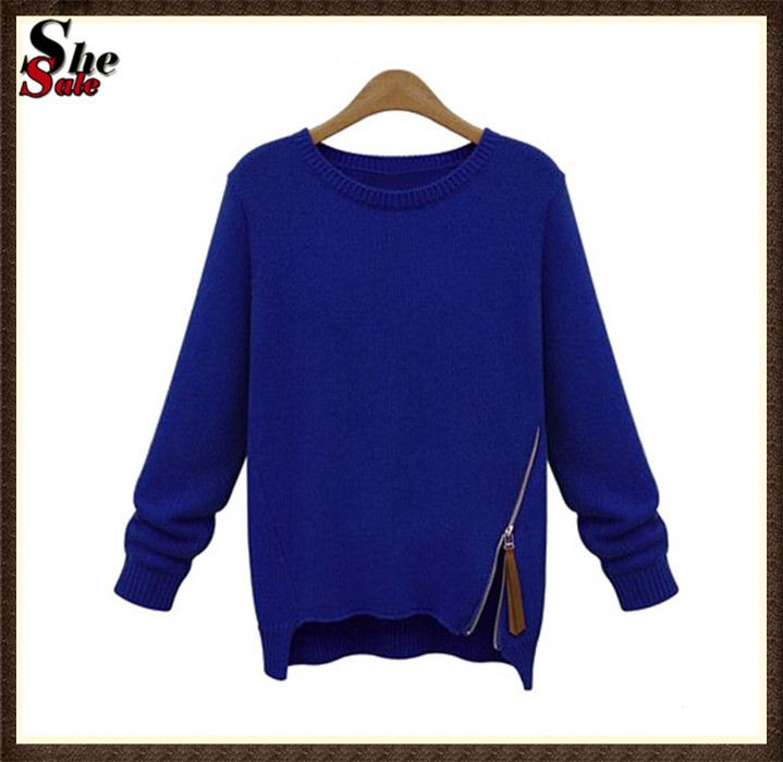 Woman Winter Clothes Brand Desigual Fashion Desigual Zipper Knitted Pullovers Plain Blue Long Sleeve Knitted Sweater(China (Mainland))