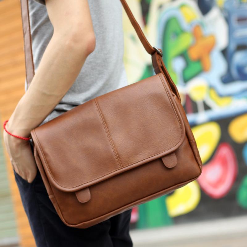 Street Casual Trend Men Messenger Bags,Leather Satchel For Boys,England Style Young Man School Bags,Crossbody Handbag,iPad Purse(China (Mainland))