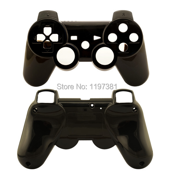High Quality For Sony Playstation 3 ps3 wireless controller Glossy Black Replacement front and back housing shell cover(China (Mainland))