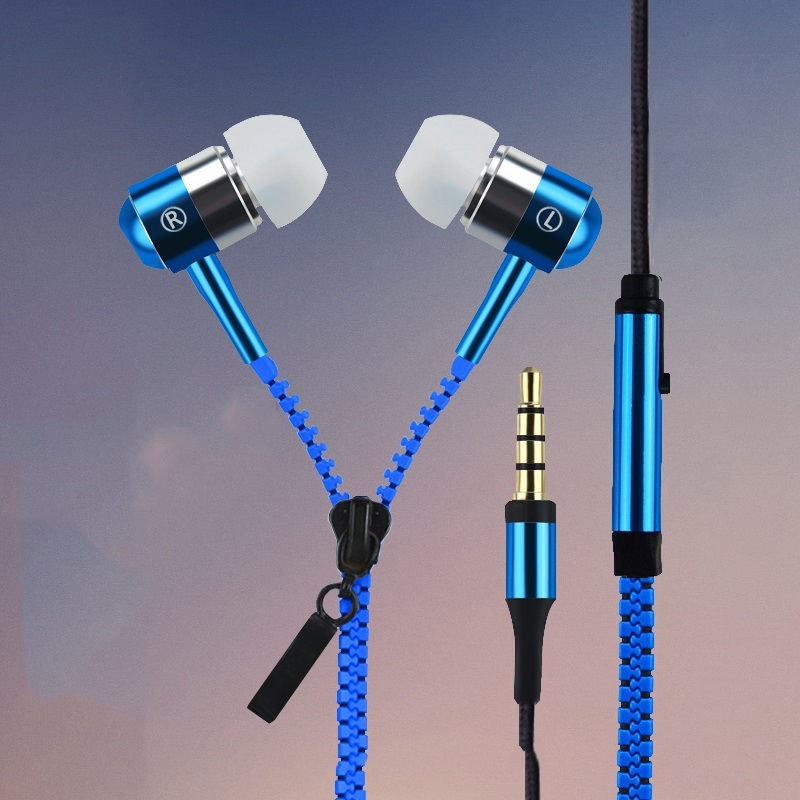 2015 New Metal Zipper Earphones 3.5mm in-ear earphone with mic for IPHONE 4s 5 5s for ipad 2 3 4 mini mp3 mp4 For samsung S5 S6(China (Mainland))