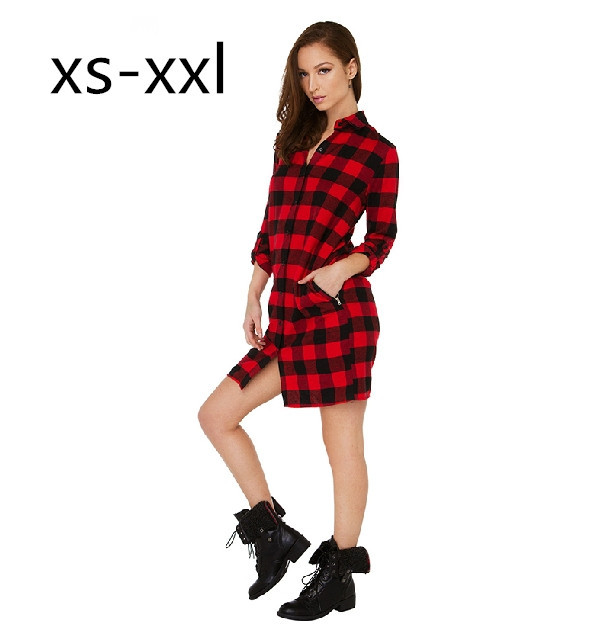 XS-XXL 2015 New Summer Women's Dress Fashion BF Losse Red Plaid Long-Sleeved Side Zipper Shirt - Buy Your Want To store