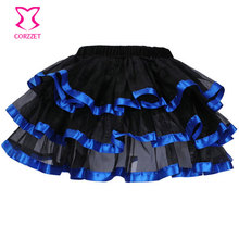 Blue Satin & Black Tulle Skirt Adult Sexy Short Tutu Skirt Women Plus Size Skirts Womens Saia Feminina Lolita Dance Clubwear