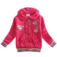 Girl children winter outwear coat girls autumn-winter clothes jacket applique flower zipper up jacket hoodies for baby girls(China (Mainland))