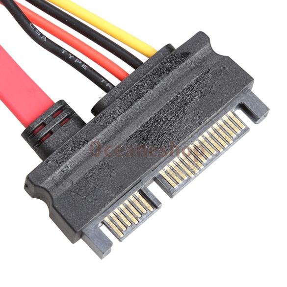 22 Pin Male to Female 7+15 pin SATA Data Power Combo Extension Cable 45CM(China (Mainland))