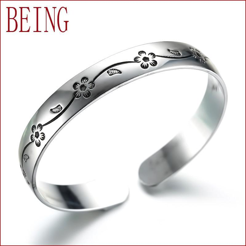 Hot Silver plated bracelet fashion jewelry simple design classic Indian plum opening cuff Bangle manufacturers wholesale(China (Mainland))