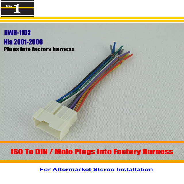 For Kia Sorrento LX Spectra / Male ISO Radio Wire Cable Wiring Harness Car Stereo Adapter Connector / Plugs into Factory Harness(China (Mainland))