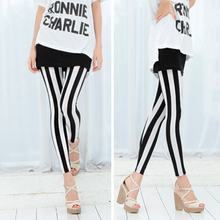 Fashion Women's Black White Vertical Stripes Leggings Raps Skinny Pants Retail/Wholesale  59KE