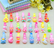 Happy 10 pcs/lot High Quality Barrettes Kawaii Animal Bow Floral Hairclip Fashion Princess Colorful Resin Girls Hairpins