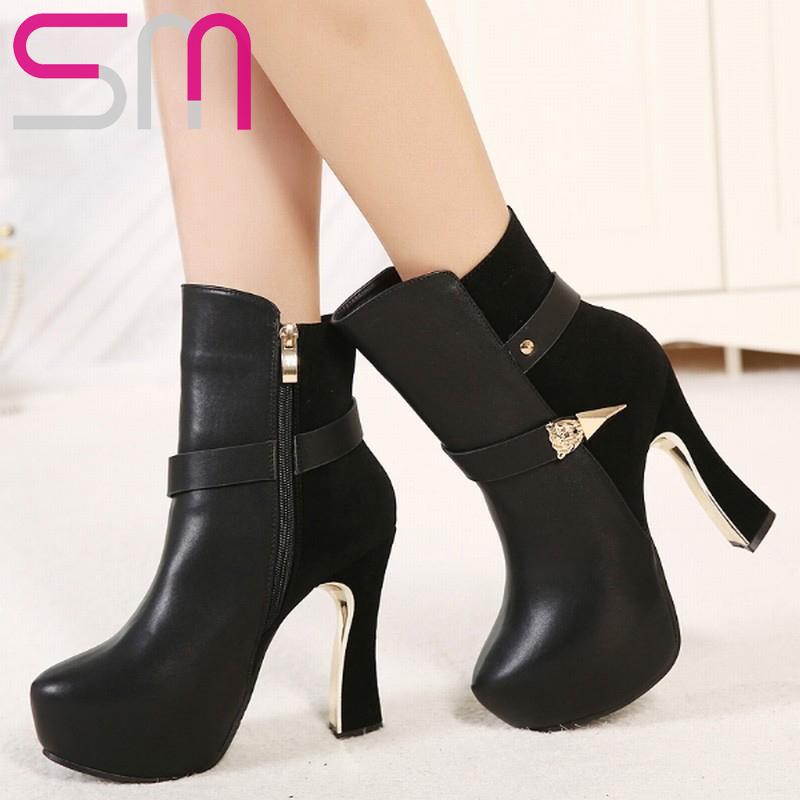 Fashion Women Buckle Short Boots Sexy Hoof High Heels Women Boots Platform Shoes Woman Fall Winter Boots Party Wedding Shoes