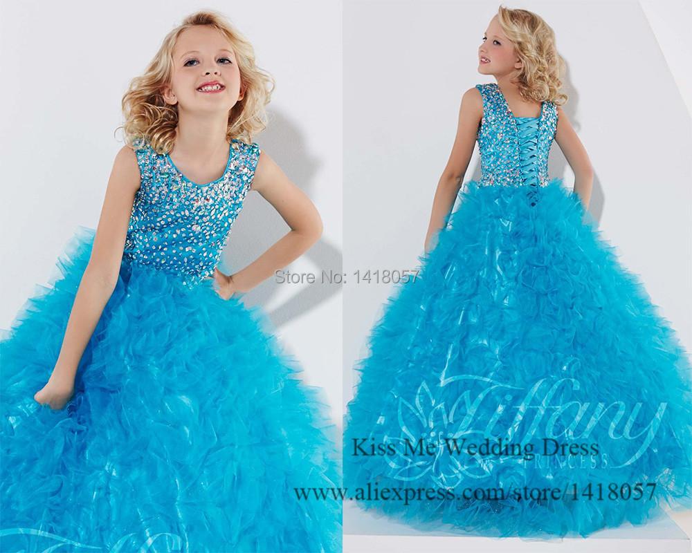 หีเด็ก10ขวบ น่ารักสีฟ้าr hinestones r ufflesสาวประกวดชุดบอลชุดเด็กfrock designs