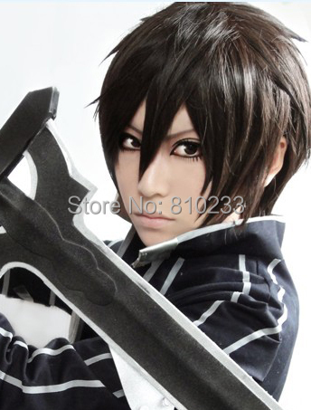 [sunshine]  Sword Art Online/kirito black short cosplay anime wig reflex action wig----Free shipping<br><br>Aliexpress