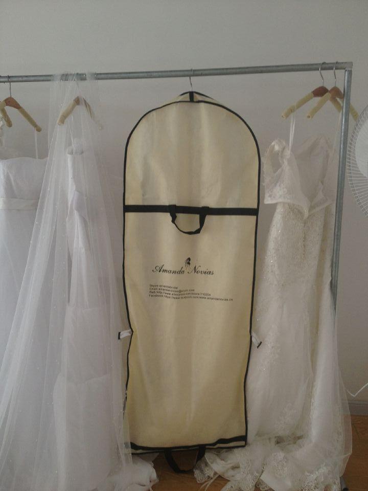 Amanda Novias Wedding Accessaries Dress Bag Clothes Hood Dust Cover for Wedding Dress Bridal Gown Garment /wedding dress cover(China (Mainland))