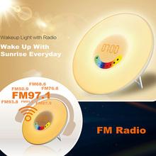 Sunrise LED Lights with Digital Alarm Clock Wake Up FM Radio Colorful Light(China (Mainland))