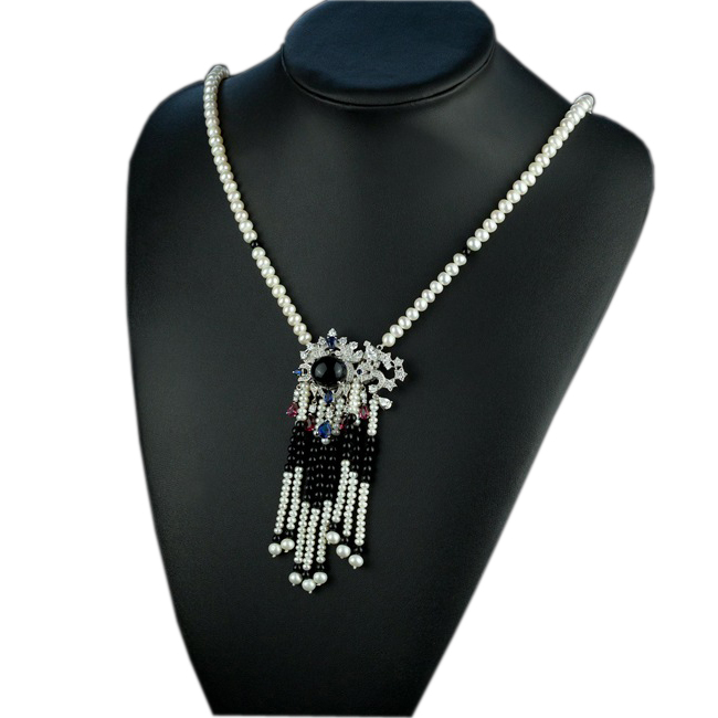 Luxury Black Agate Pearl Tassel Pendant Cultured Freshwater Pearls Long Rope Banquet Party Necklace AJ-TNN082<br><br>Aliexpress