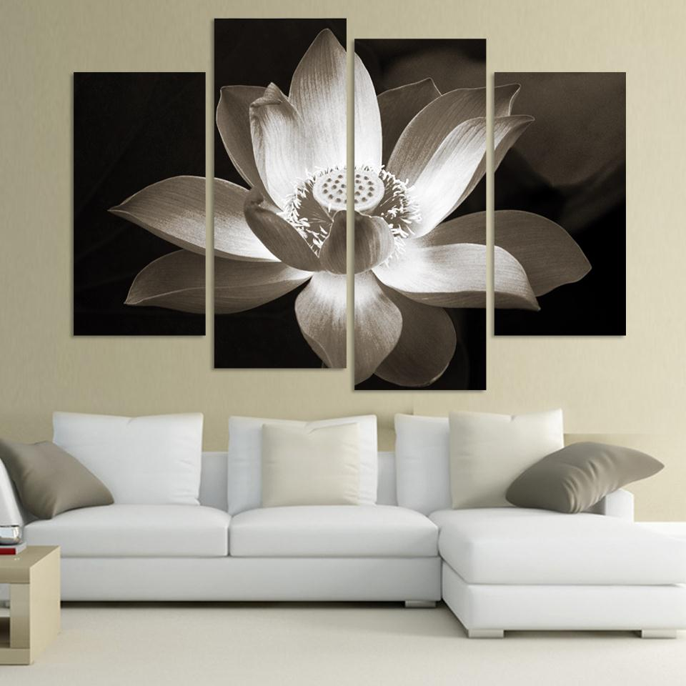 4panel Modern Wall Art Home Decoration Printed Flower Oil