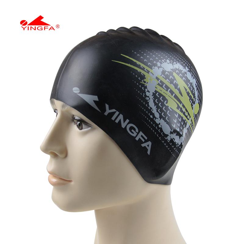 Ying fat print swimming cap male female general silica gel waterproof swimming cap(China (Mainland))