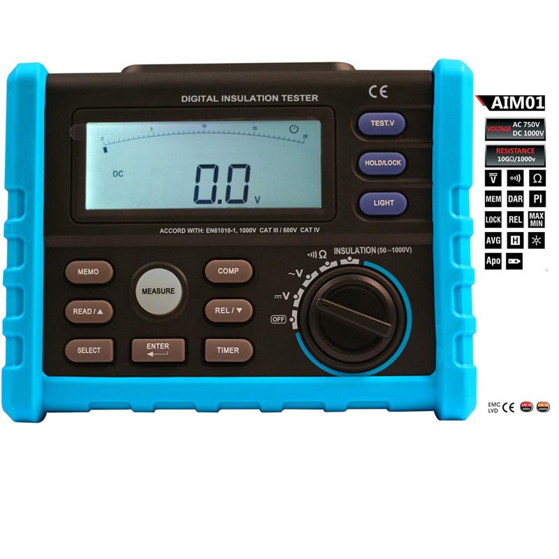 AIM01 High Precision Megger Digital Insulation Resistance Meter Tester Multimeter 10G ohm 1000V Medidor<br>