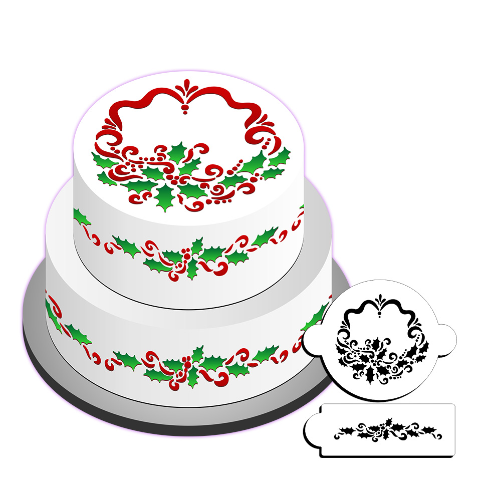 Cake Decorating Flower Templates : Holly Cake Stencil Set, Flower Stencils,Cake Side Stencil ...